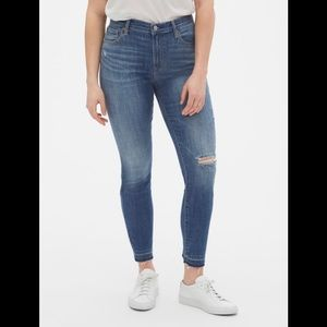NWT Gap Distressed Detail True Skinny Ankle Jeans